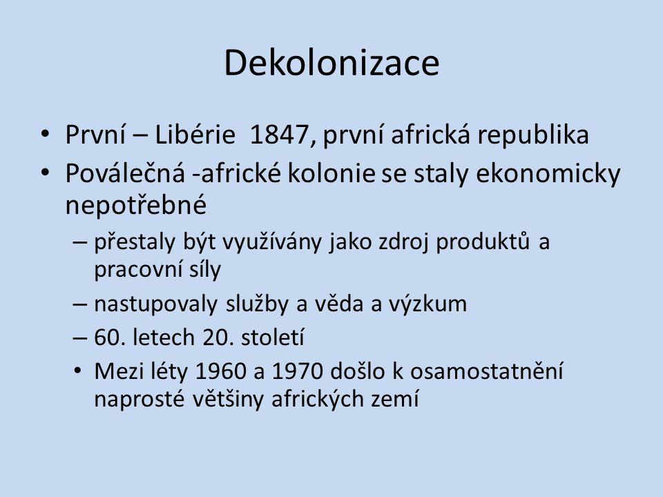 Dekolonizace První – Libérie 1847, první africká republika Poválečná -africké kolonie se staly ekonomicky nepotřebné – přestaly být využívány jako zdr