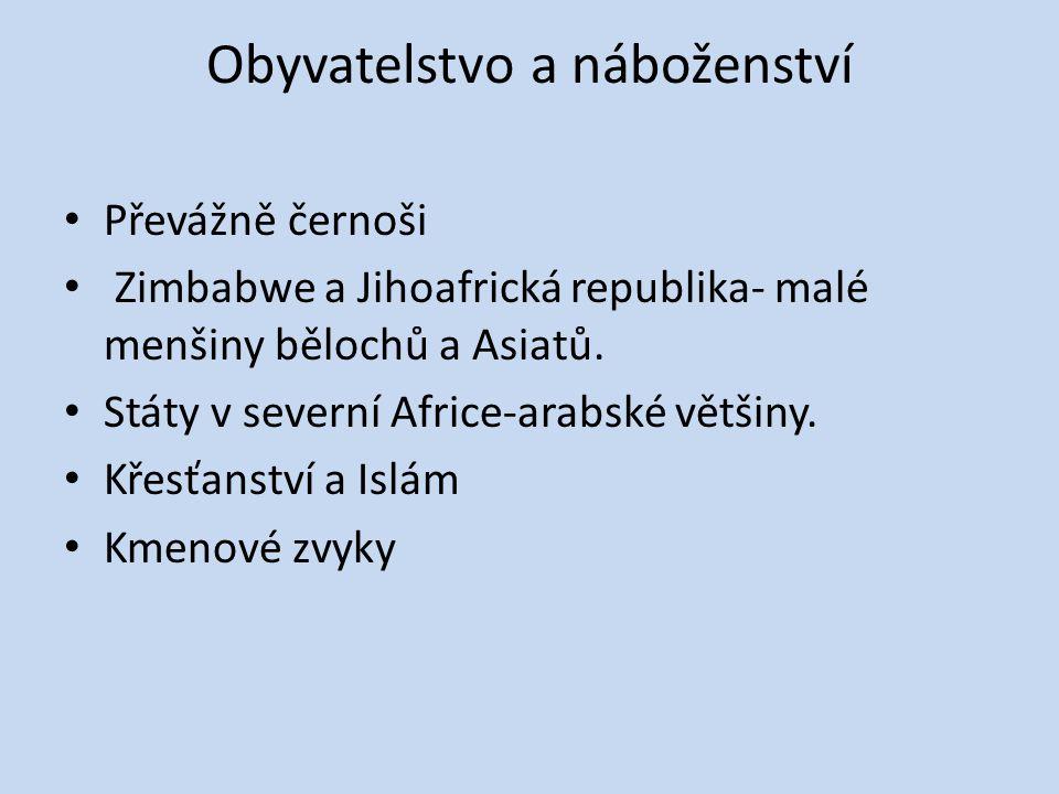 Obyvatelstvo a náboženství Převážně černoši Zimbabwe a Jihoafrická republika- malé menšiny bělochů a Asiatů. Státy v severní Africe-arabské většiny. K