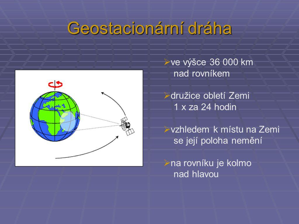 Geostacionární dráha  ve výšce 36 000 km nad rovníkem  družice obletí Zemi 1 x za 24 hodin  vzhledem k místu na Zemi se její poloha nemění  na rov