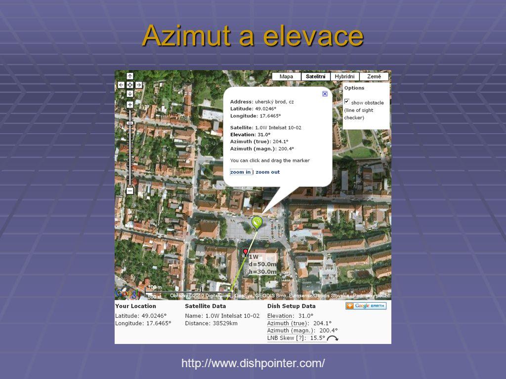 Azimut a elevace http://www.dishpointer.com/