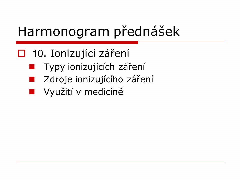 Harmonogram přednášek  10.