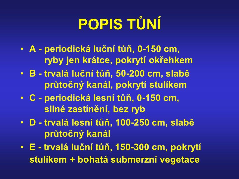 POPIS TŮNÍ A - periodická luční tůň, 0-150 cm, ryby jen krátce, pokrytí okřehkem B - trvalá luční tůň, 50-200 cm, slabě průtočný kanál, pokrytí stulík