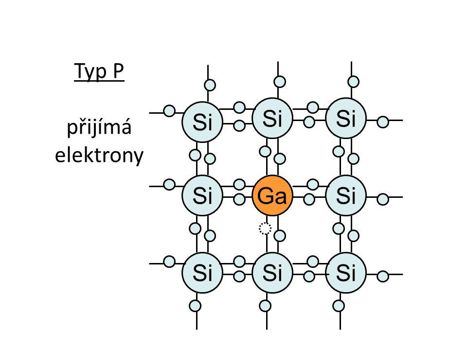Si Typ P přijímá elektrony Si Ga