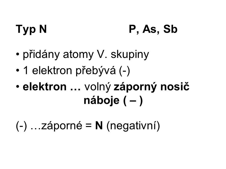 Typ NP, As, Sb přidány atomy V. skupiny 1 elektron přebývá (-) elektron … volný záporný nosič náboje ( – ) (-) …záporné = N (negativní)