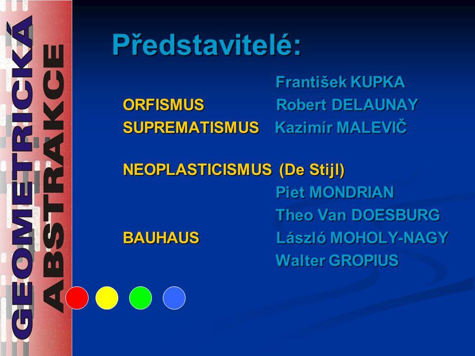 Představitelé: František KUPKA ORFISMUS Robert DELAUNAY SUPREMATISMUS Kazimír MALEVIČ NEOPLASTICISMUS (De Stijl) Piet MONDRIAN Theo Van DOESBURG BAUHA