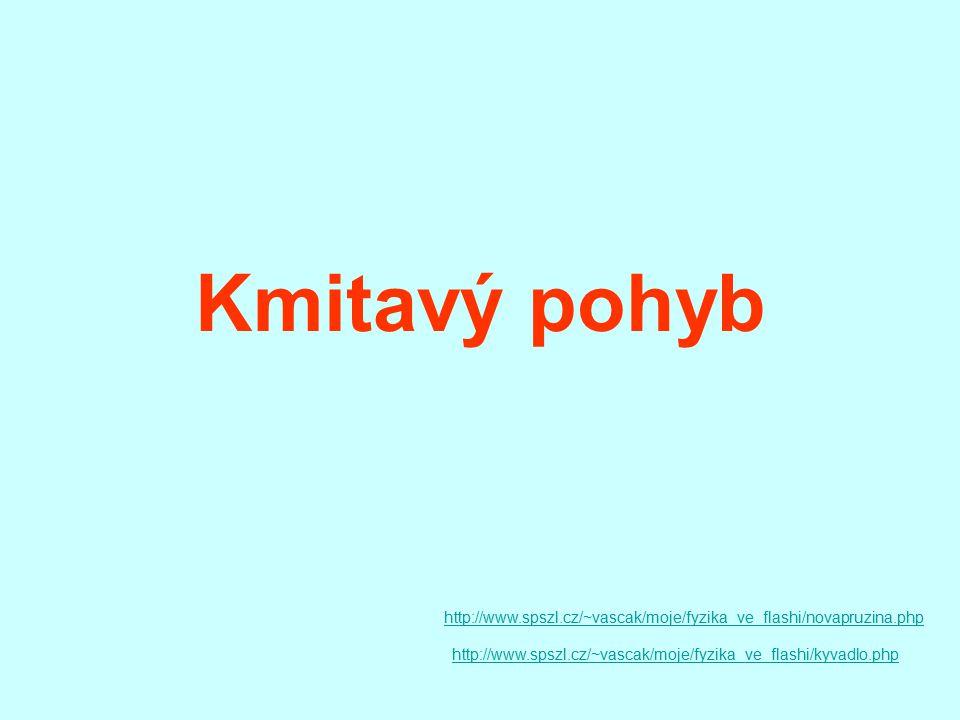 Kmitavý pohyb http://www.spszl.cz/~vascak/moje/fyzika_ve_flashi/novapruzina.php http://www.spszl.cz/~vascak/moje/fyzika_ve_flashi/kyvadlo.php