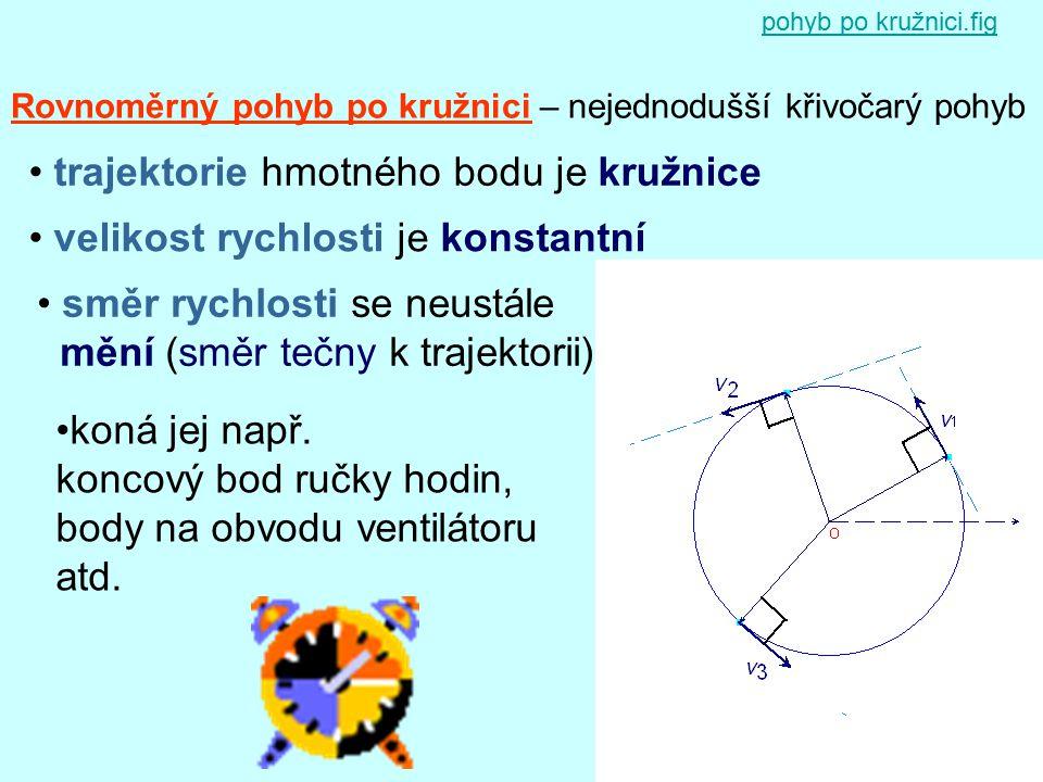 Rovnoměrný pohyb po kružnici – nejednodušší křivočarý pohyb trajektorie hmotného bodu je kružnice velikost rychlosti je konstantní směr rychlosti se n