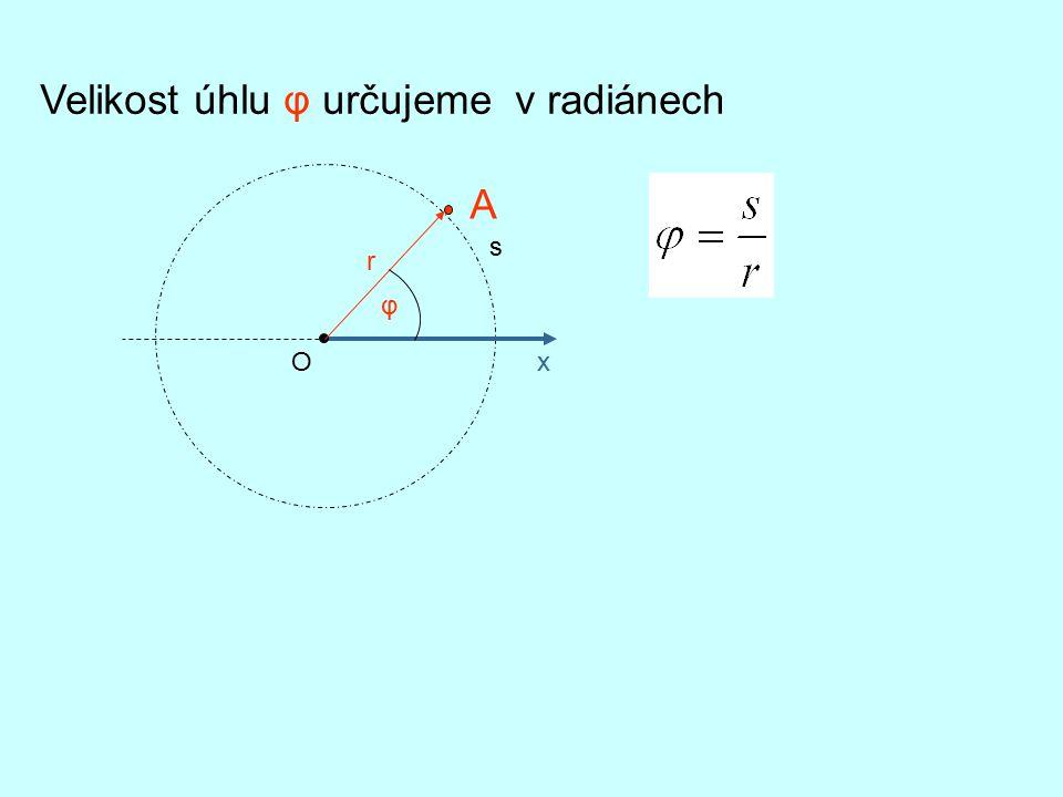 Velikost úhlu φ určujeme v radiánech x A s φ r O