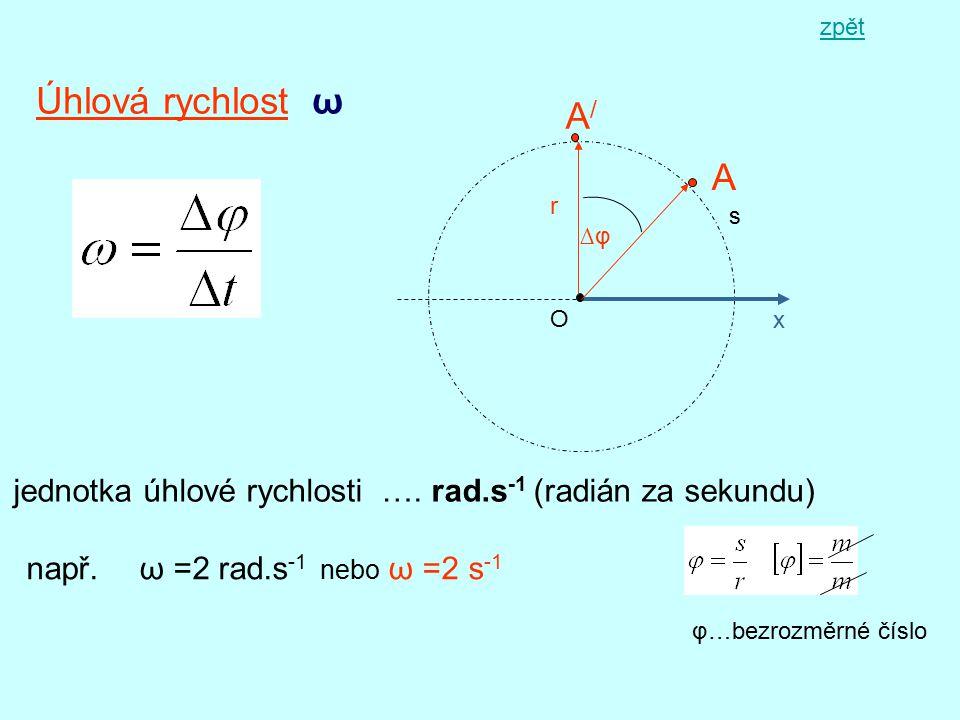Úhlová rychlost ω x A s r O A/A/ ∆φ jednotka úhlové rychlosti …. rad.s -1 (radián za sekundu) např. ω =2 rad.s -1 nebo ω =2 s -1 φ…bezrozměrné číslo z