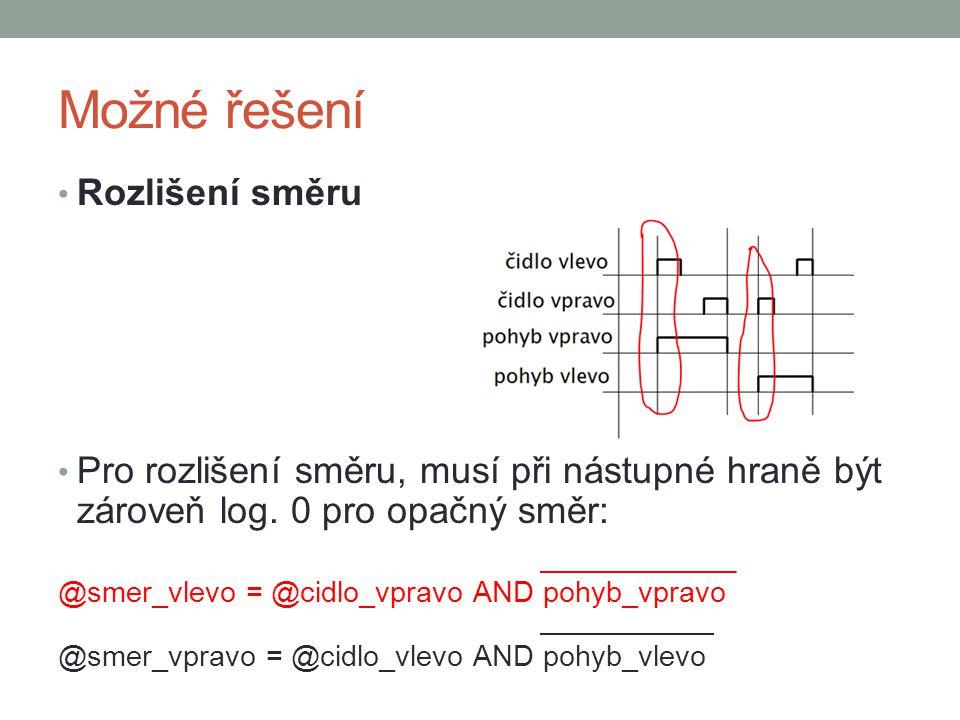 Možné řešení Rozlišení směru Pro rozlišení směru, musí při nástupné hraně být zároveň log. 0 pro opačný směr: @smer_vlevo = @cidlo_vpravo AND pohyb_vp