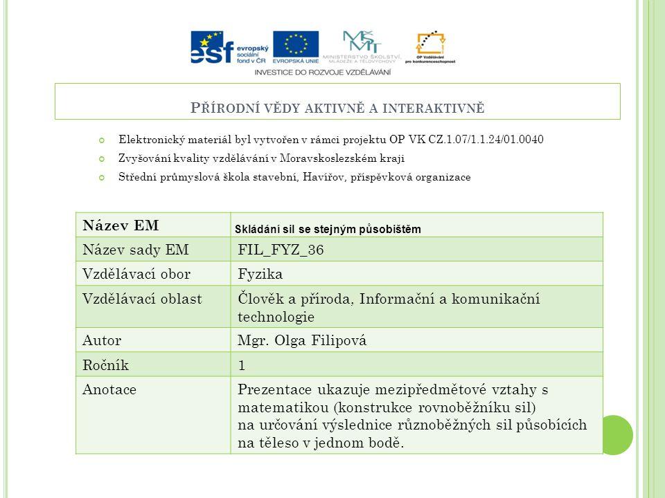 P ŘÍRODNÍ VĚDY AKTIVNĚ A INTERAKTIVNĚ Elektronický materiál byl vytvořen v rámci projektu OP VK CZ.1.07/1.1.24/01.0040 Zvyšování kvality vzdělávání v
