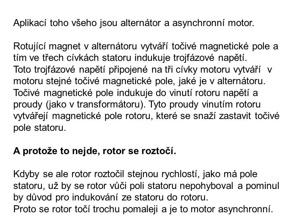 Aplikací toho všeho jsou alternátor a asynchronní motor. Rotující magnet v alternátoru vytváří točivé magnetické pole a tím ve třech cívkách statoru i