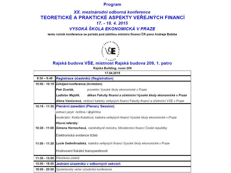 Zveme Vás na XXI.konferenci TEORETICKÉ A PRAKTICKÉ ASPEKTY VEŘEJNÝCH FINANCÍ ve dnech 15.