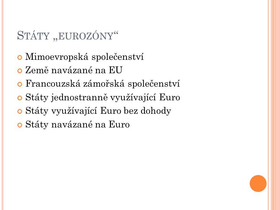 """S TÁTY """" EUROZÓNY """" Mimoevropská společenství Země navázané na EU Francouzská zámořská společenství Státy jednostranně využívající Euro Státy využívaj"""