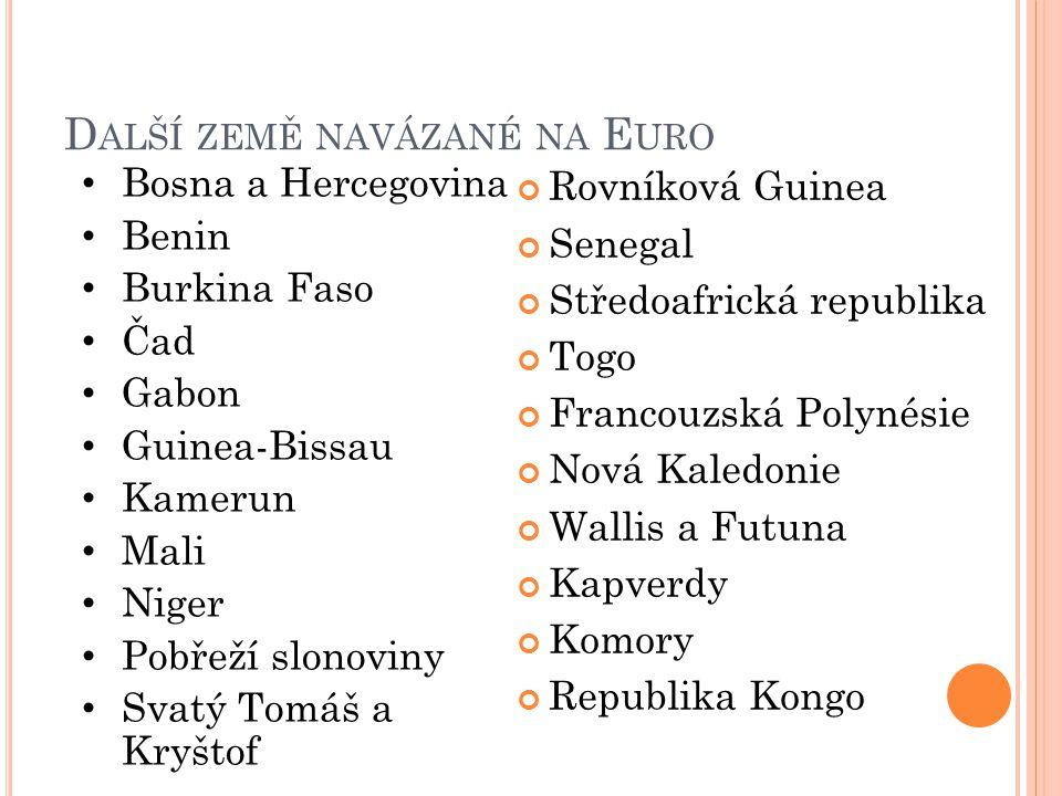 D ALŠÍ ZEMĚ NAVÁZANÉ NA E URO Rovníková Guinea Senegal Středoafrická republika Togo Francouzská Polynésie Nová Kaledonie Wallis a Futuna Kapverdy Komo