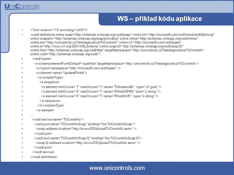 www.unicontrols.com WS – příklad kódu aplikace...