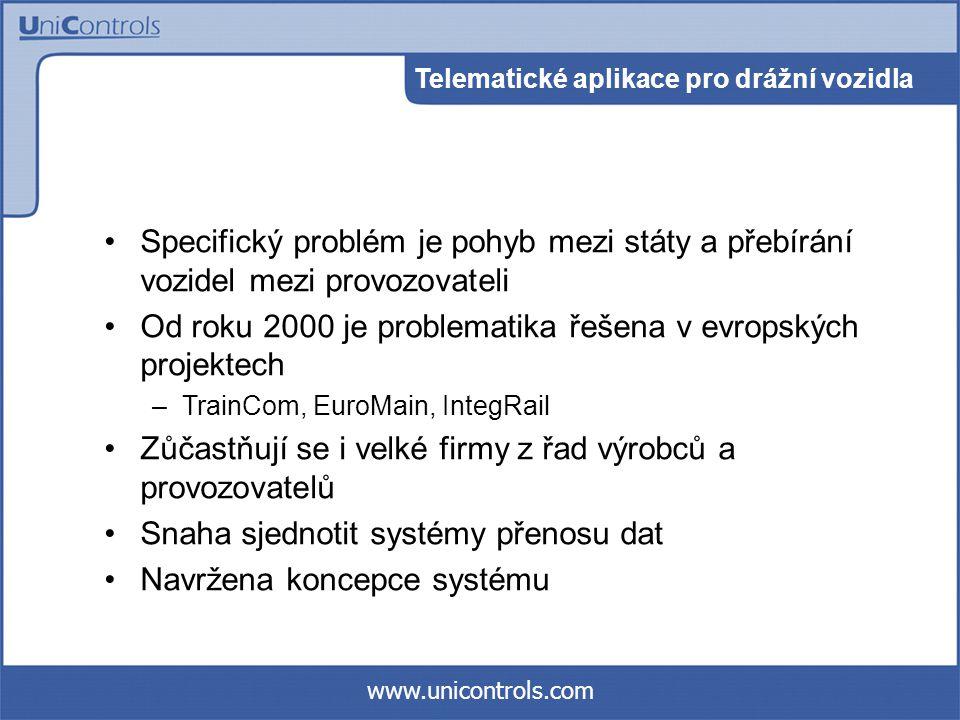 www.unicontrols.com Specifický problém je pohyb mezi státy a přebírání vozidel mezi provozovateli Od roku 2000 je problematika řešena v evropských projektech –TrainCom, EuroMain, IntegRail Zůčastňují se i velké firmy z řad výrobců a provozovatelů Snaha sjednotit systémy přenosu dat Navržena koncepce systému Telematické aplikace pro drážní vozidla