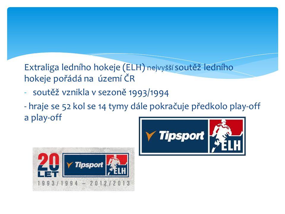 Extraliga ledního hokeje (ELH) nejvyšší soutěž ledního hokeje pořádá na území ČR -soutěž vznikla v sezoně 1993/1994 - hraje se 52 kol se 14 tymy dále