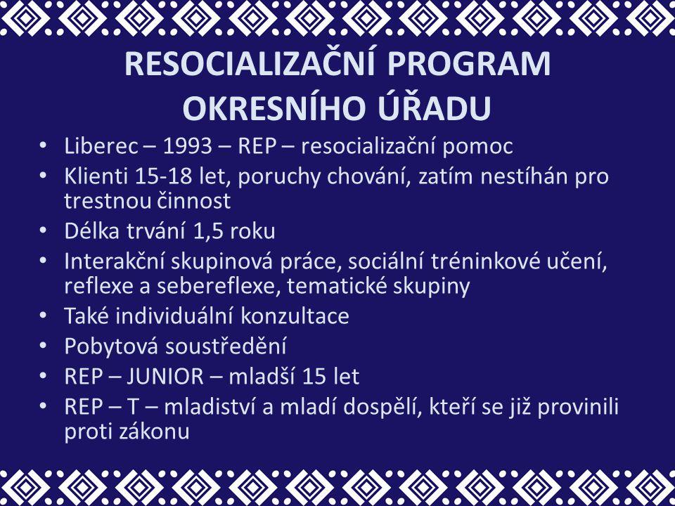 RESOCIALIZAČNÍ PROGRAM OKRESNÍHO ÚŘADU Liberec – 1993 – REP – resocializační pomoc Klienti 15-18 let, poruchy chování, zatím nestíhán pro trestnou čin