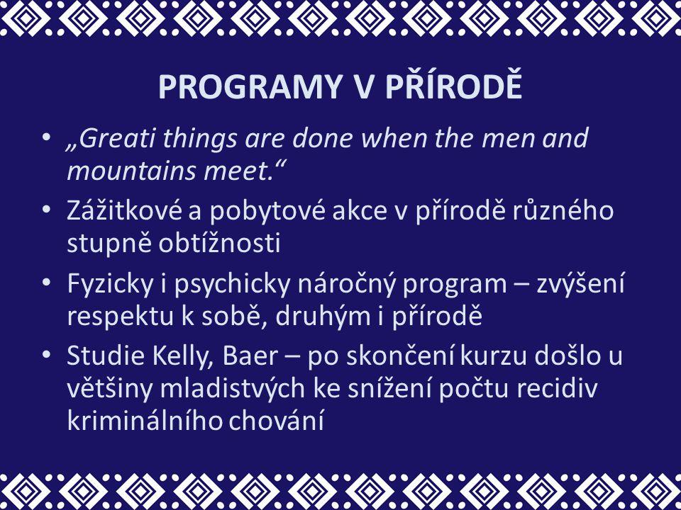 """PROGRAMY V PŘÍRODĚ """"Greati things are done when the men and mountains meet."""" Zážitkové a pobytové akce v přírodě různého stupně obtížnosti Fyzicky i p"""