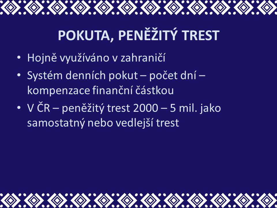 POKUTA, PENĚŽITÝ TREST Hojně využíváno v zahraničí Systém denních pokut – počet dní – kompenzace finanční částkou V ČR – peněžitý trest 2000 – 5 mil.