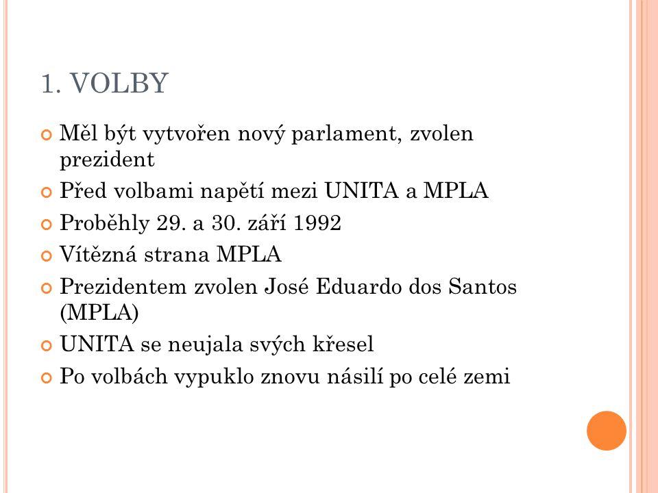1. VOLBY Měl být vytvořen nový parlament, zvolen prezident Před volbami napětí mezi UNITA a MPLA Proběhly 29. a 30. září 1992 Vítězná strana MPLA Prez