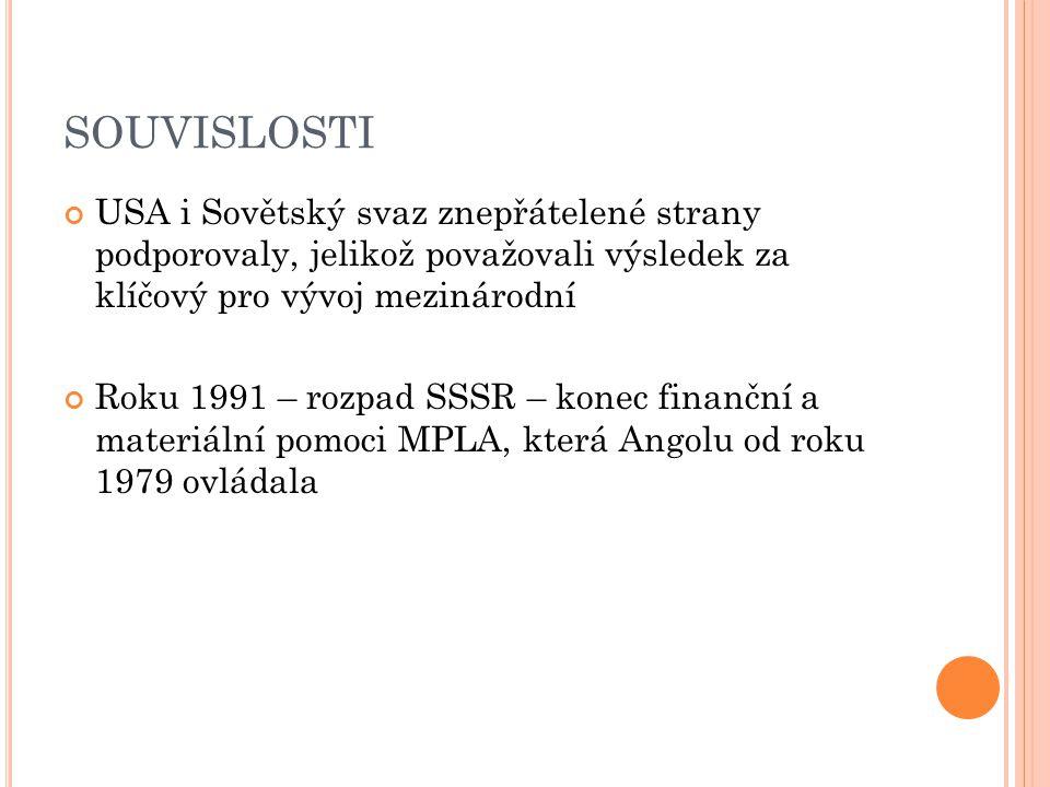 SOUVISLOSTI USA i Sovětský svaz znepřátelené strany podporovaly, jelikož považovali výsledek za klíčový pro vývoj mezinárodní Roku 1991 – rozpad SSSR – konec finanční a materiální pomoci MPLA, která Angolu od roku 1979 ovládala