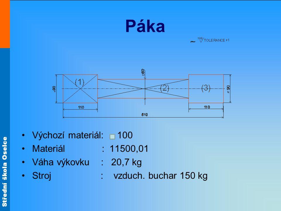 Střední škola Oselce Páka Výchozí materiál: 100 Materiál : 11500,01 Váha výkovku : 20,7 kg Stroj : vzduch.