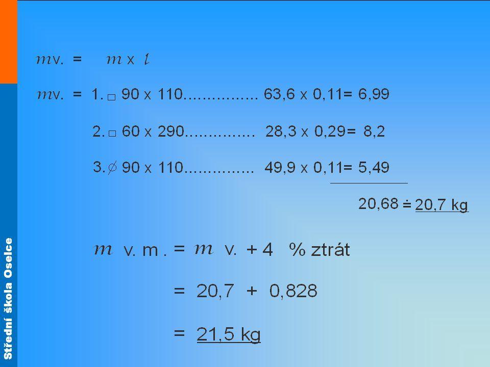 Výpočet délky osazení části (2) Výpočet délky sekaného materiálu