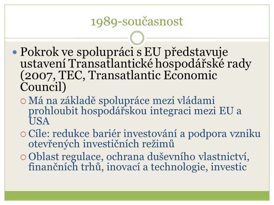 1989-současnost Pokrok ve spolupráci s EU představuje ustavení Transatlantické hospodářské rady (2007, TEC, Transatlantic Economic Council)  Má na zá