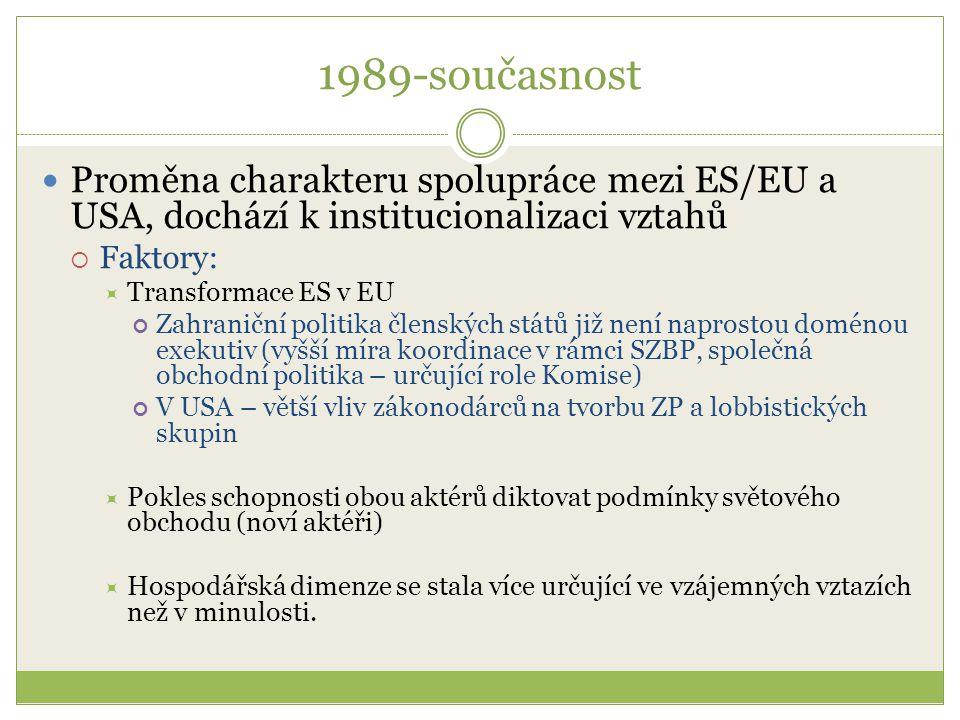 1989-současnost Transatlantická deklarace (1990)  Reakce Bushovy administrativy na proměnu evropské integrace  Faktory:  Hodnocení evropské integrace → síla i význam ve světě poroste  Hlavní odbytiště amerických výrobků + hlavní cíl amerických investic  Obavy ze vzniku společného trhu a ohrožení amerických obchodních zájmů  Obavy, aby proměnou ES v EU nevznikl v rámci NATO jednotný a více asertivní evropský klub (obavy z rozpadu NATO)  ES → americká iniciativa měla podporu Delorsovy Komise