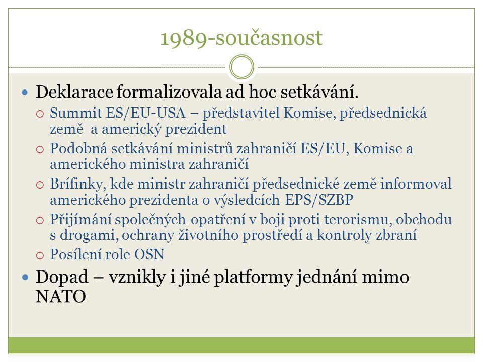 1989-současnost Deklarace formalizovala ad hoc setkávání.  Summit ES/EU-USA – představitel Komise, předsednická země a americký prezident  Podobná s