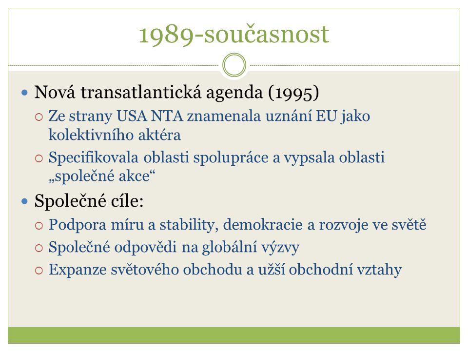 1989-současnost Nová transatlantická agenda (1995)  Ze strany USA NTA znamenala uznání EU jako kolektivního aktéra  Specifikovala oblasti spolupráce