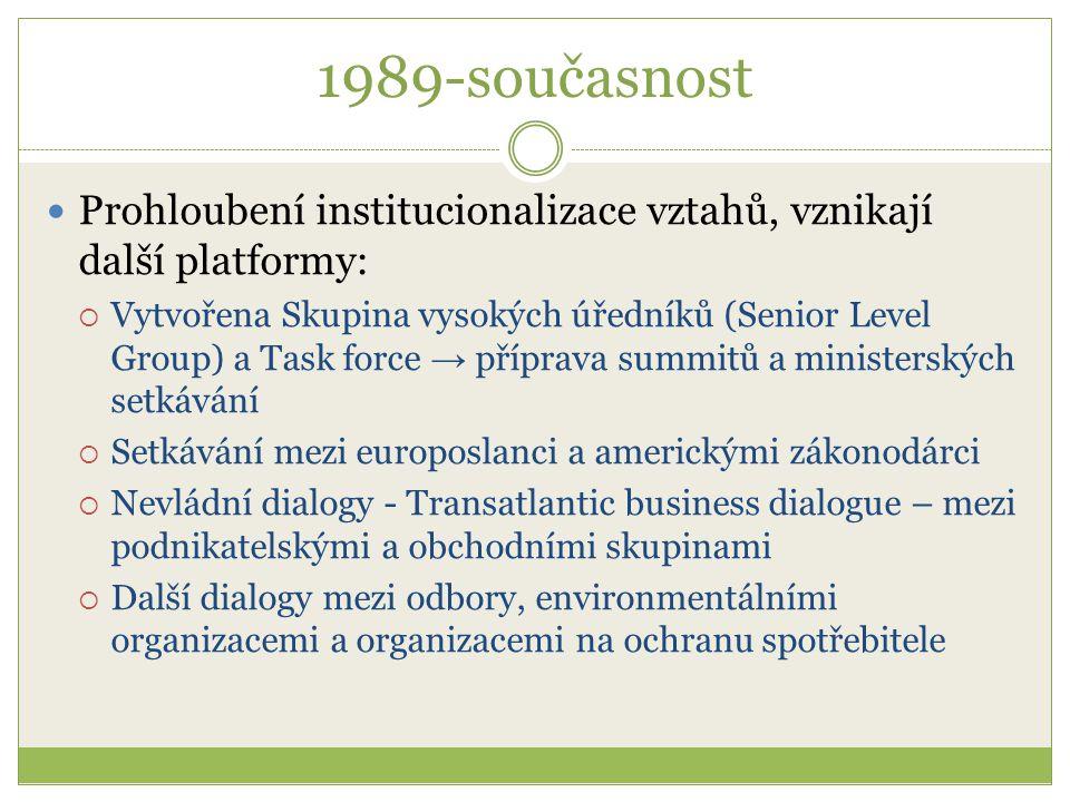1989-současnost Prohloubení institucionalizace vztahů, vznikají další platformy:  Vytvořena Skupina vysokých úředníků (Senior Level Group) a Task for