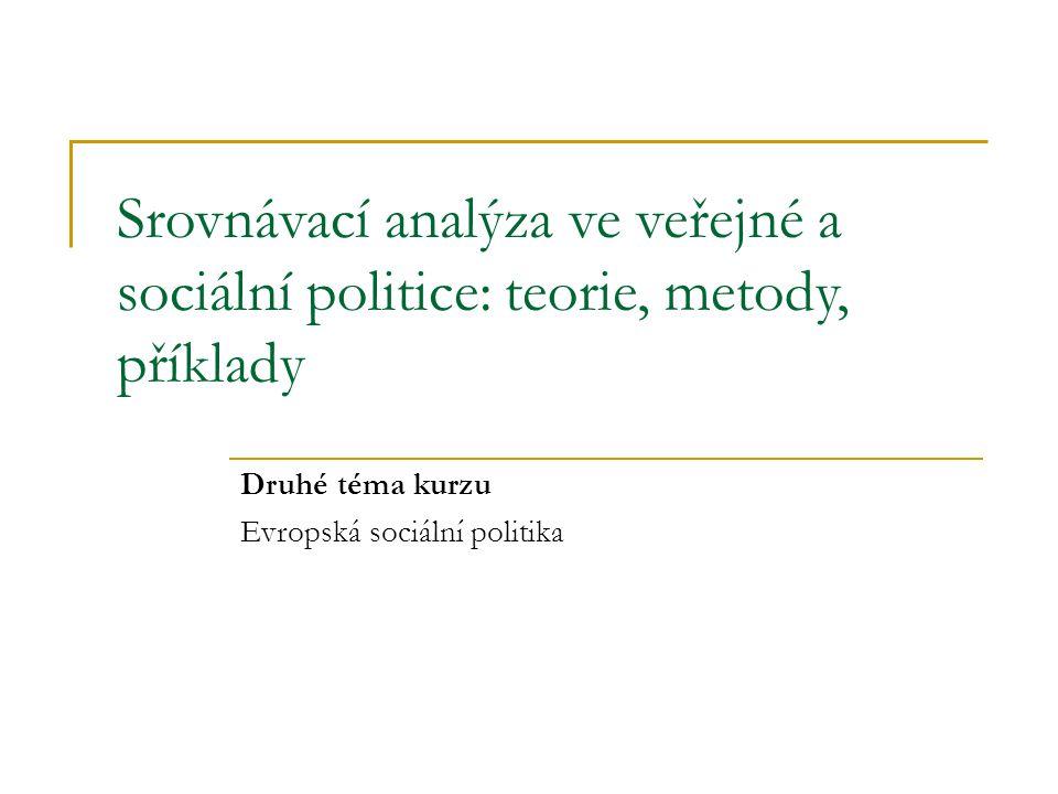 Srovnávací analýza ve veřejné a sociální politice: teorie, metody, příklady Druhé téma kurzu Evropská sociální politika