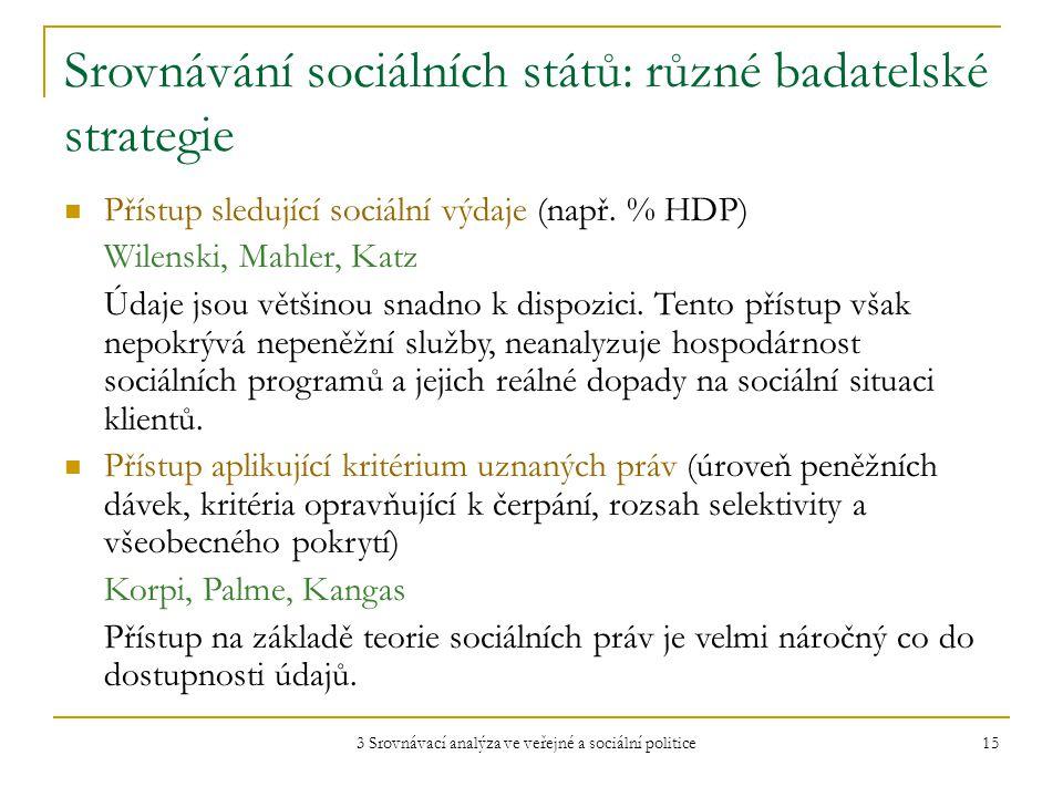 3 Srovnávací analýza ve veřejné a sociální politice 15 Srovnávání sociálních států: různé badatelské strategie Přístup sledující sociální výdaje (např.