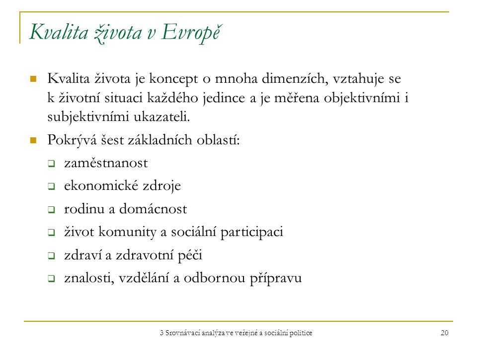 3 Srovnávací analýza ve veřejné a sociální politice 20 Kvalita života v Evropě Kvalita života je koncept o mnoha dimenzích, vztahuje se k životní situaci každého jedince a je měřena objektivními i subjektivními ukazateli.