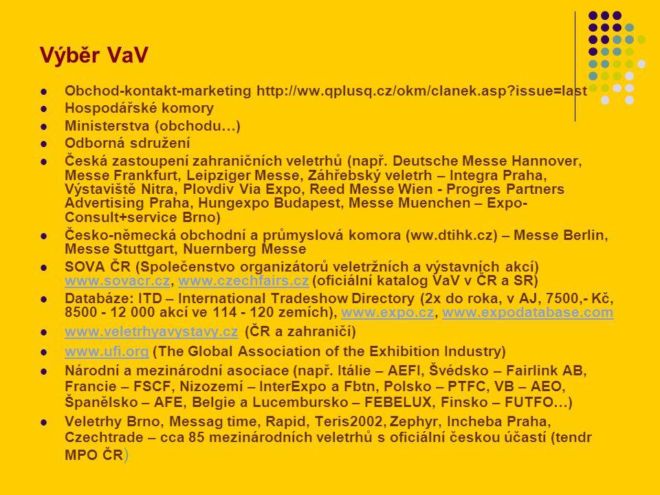 Výběr VaV Obchod-kontakt-marketing http://ww.qplusq.cz/okm/clanek.asp issue=last Hospodářské komory Ministerstva (obchodu…) Odborná sdružení Česká zastoupení zahraničních veletrhů (např.