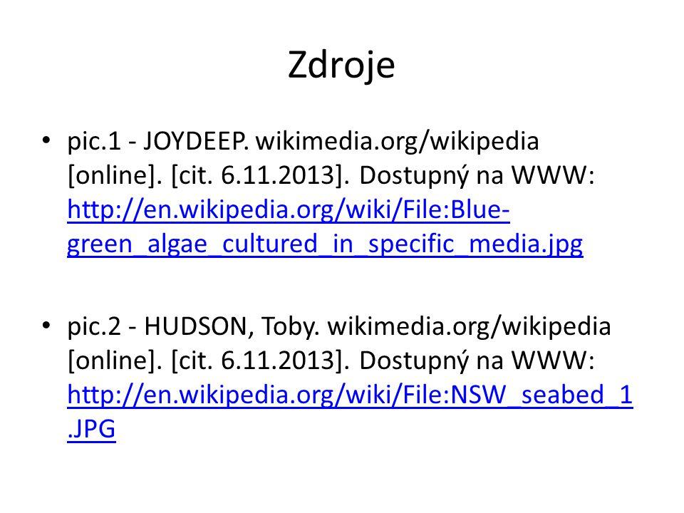 Zdroje pic.1 - JOYDEEP. wikimedia.org/wikipedia [online]. [cit. 6.11.2013]. Dostupný na WWW: http://en.wikipedia.org/wiki/File:Blue- green_algae_cultu