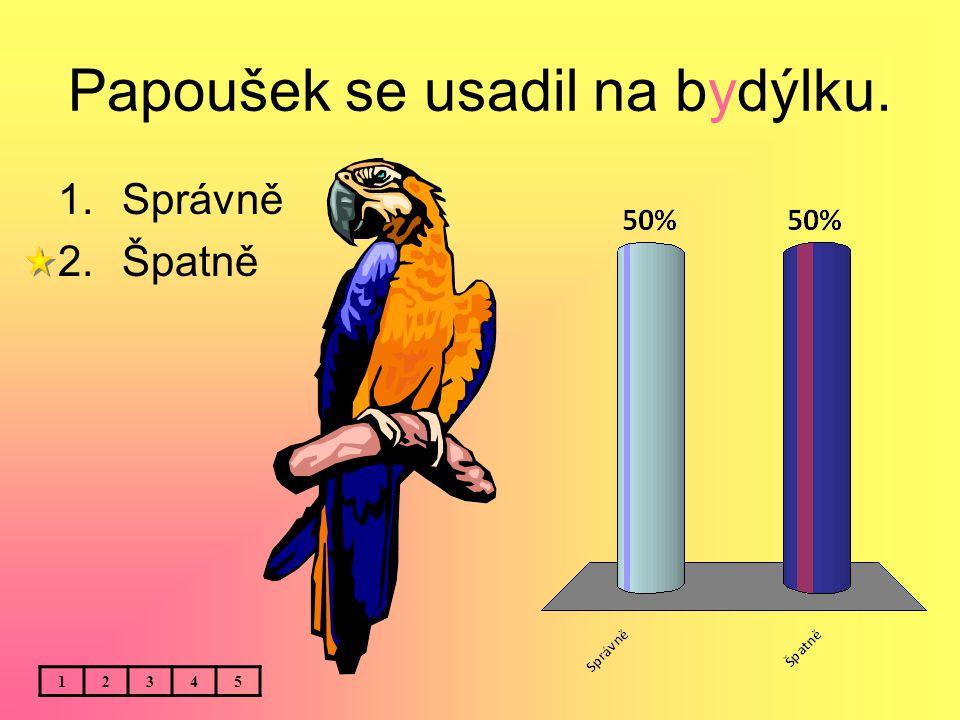 Papoušek se usadil na bydýlku. 1.Správně 2.Špatně 12345