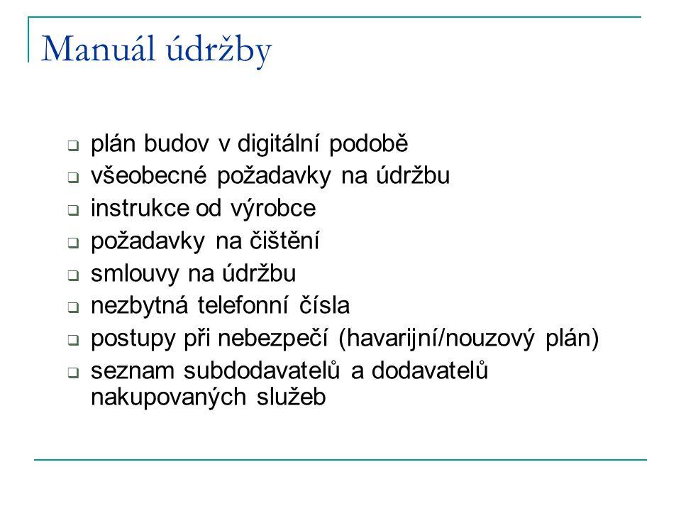 Manuál údržby  plán budov v digitální podobě  všeobecné požadavky na údržbu  instrukce od výrobce  požadavky na čištění  smlouvy na údržbu  nezb