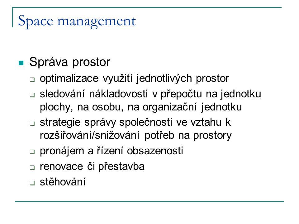 Space management Správa prostor  optimalizace využití jednotlivých prostor  sledování nákladovosti v přepočtu na jednotku plochy, na osobu, na organ
