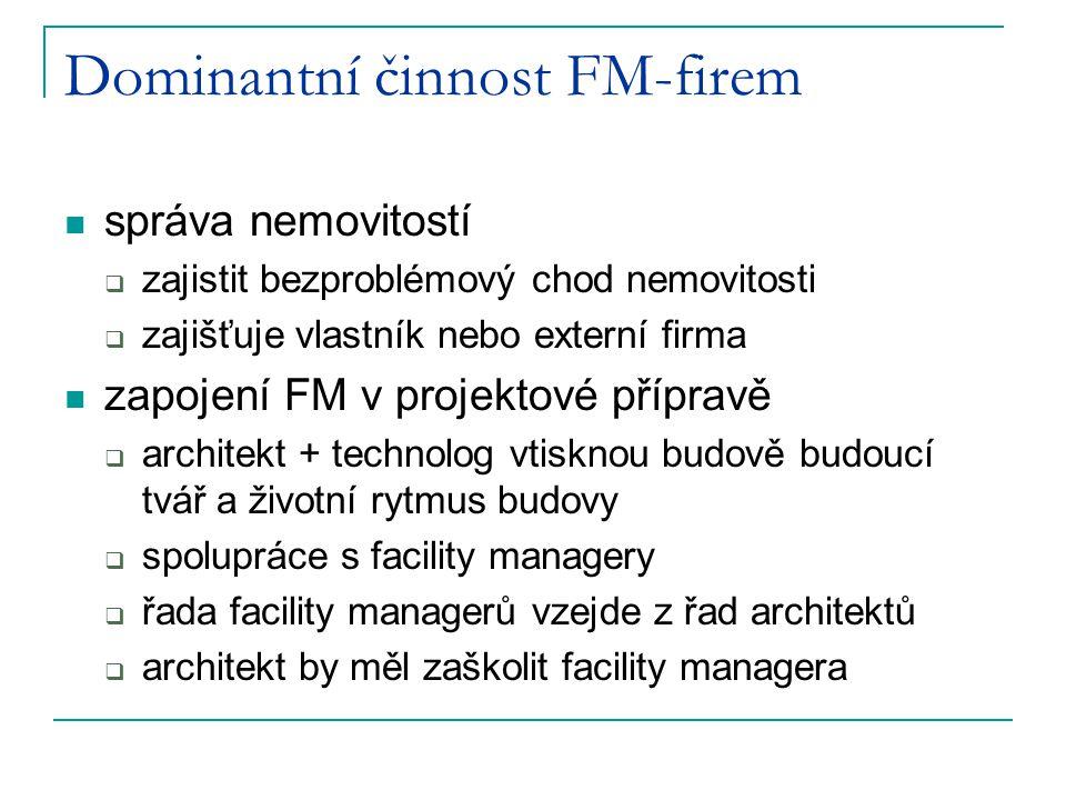 Dominantní činnost FM-firem správa nemovitostí  zajistit bezproblémový chod nemovitosti  zajišťuje vlastník nebo externí firma zapojení FM v projekt