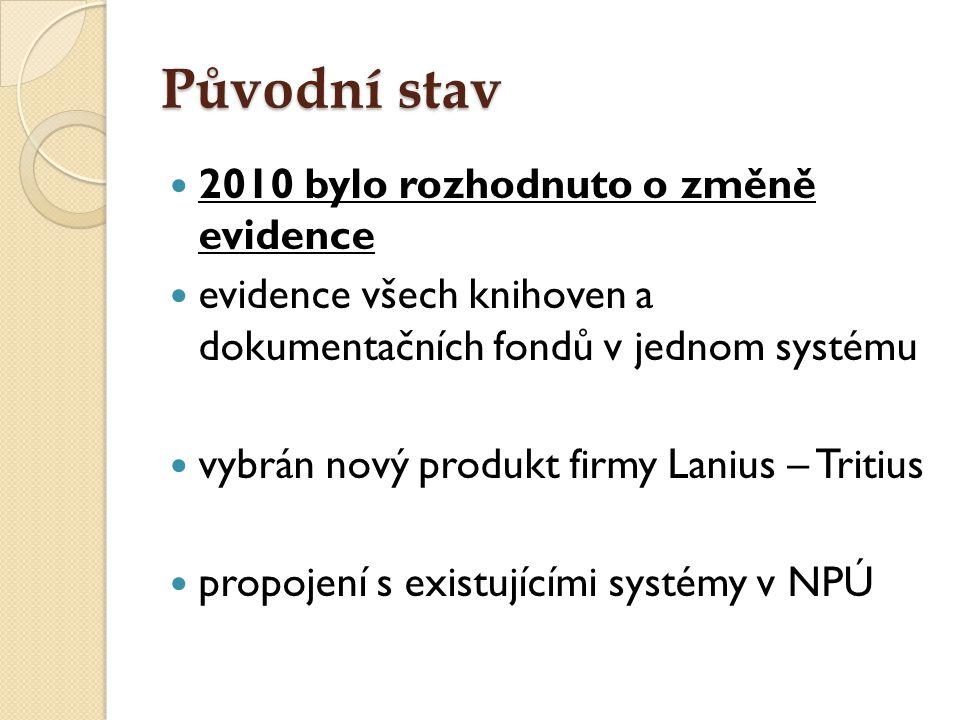 Původní stav 2010 bylo rozhodnuto o změně evidence evidence všech knihoven a dokumentačních fondů v jednom systému vybrán nový produkt firmy Lanius –