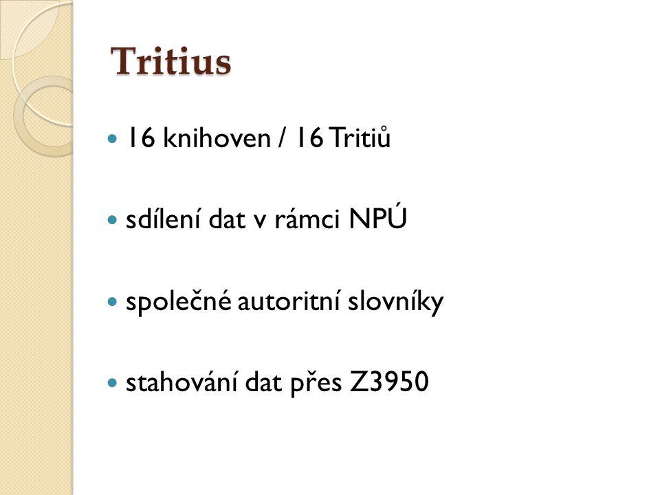 Tritius 16 knihoven / 16 Tritiů sdílení dat v rámci NPÚ společné autoritní slovníky stahování dat přes Z3950