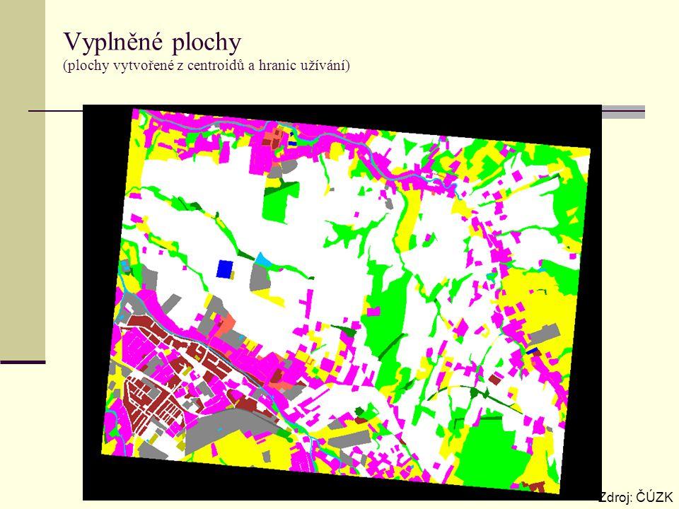 Vyplněné plochy (plochy vytvořené z centroidů a hranic užívání) Zdroj: ČÚZK