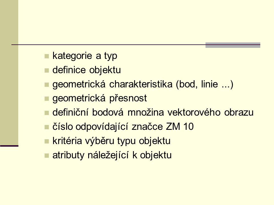 kategorie a typ definice objektu geometrická charakteristika (bod, linie...) geometrická přesnost definiční bodová množina vektorového obrazu číslo od