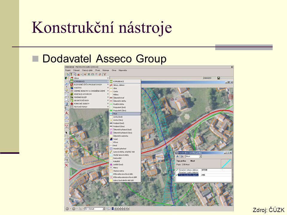 Konstrukční nástroje Dodavatel Asseco Group Zdroj: ČÚZK