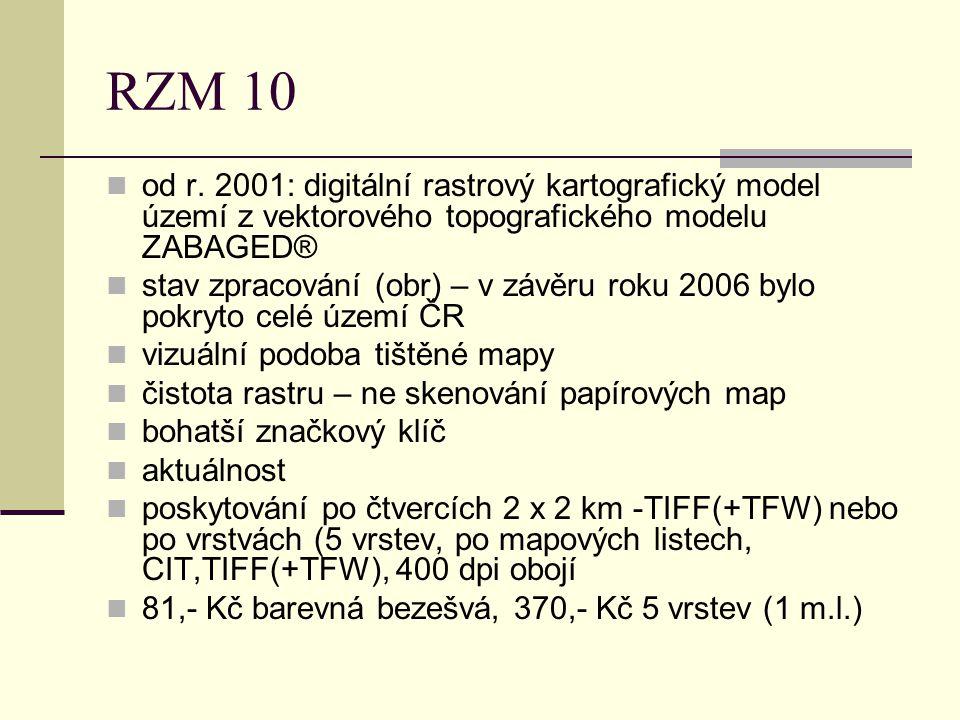 RZM 10 od r. 2001: digitální rastrový kartografický model území z vektorového topografického modelu ZABAGED® stav zpracování (obr) – v závěru roku 200