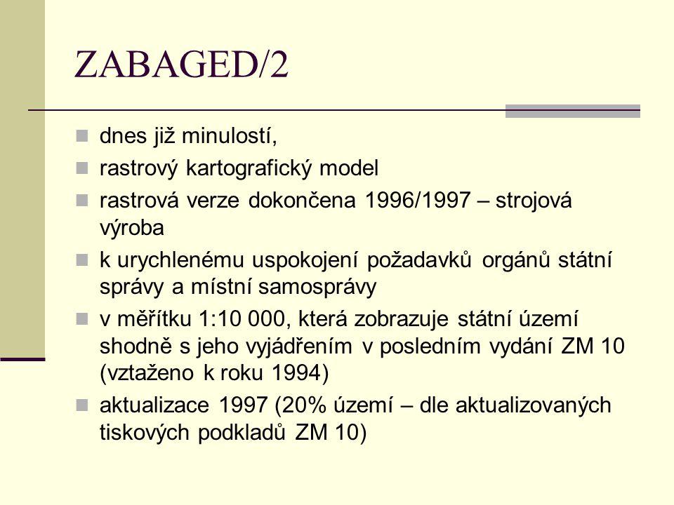 2 verze: a, digitální rastrová černobílá ZM ČR po mapových listech a vrstvách (tiskových podkladech), pořízená skenováním tiskových podkladů ZM afinní transformace dat do S-JTSK ve výměnném rastrovém formátu CIT v hustotě 400 dpi b, digitální rastrová barevná bezešvá ZM ČR pořízená počítačovým zpracováním černobílé mapy (ad a), rozřezaná na čtverce o velikosti 2x2 km (podle km čar S-JTSK) ve výměnném formátu BMP v hustotě 400 dpi